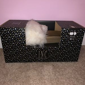 INC Faux Fur Slippers Ivory